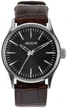 Nixon Sentry 38 Leather Brown Gator A377 1887 watch