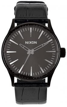 Nixon Sentry 38 Leather Black Gator A377 1886 watch