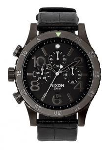 NIxon 48-20 Chrono Leather Black Gator A363 1886 watch